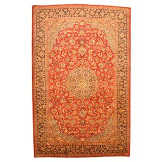Persian Hand-knotted Isfahan Red/ Navy Wool Rug (8'10 x 13'10)