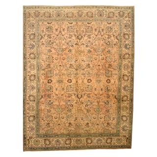 Antique 1920's Persian Hand-knotted Tabriz Peach/ Beige Wool Rug (9'8 x 12'7)