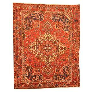 Antique 1960's Persian Hand-knotted Tribal Bakhtiari Red/ Ivory Wool Rug (9'7 x 12'1)