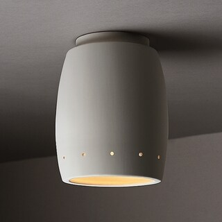 Justice Design Group 1-light Perferated Curved Ceramic Outdoor Flush Mount