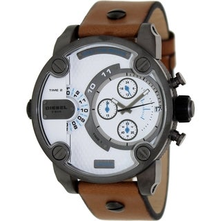 Diesel Men's Brown Leather and White Dial Quartz Watch