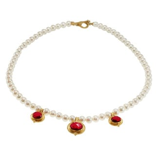 Michael Valitutti Gold over Silver Red Quartz and White Pearl Necklace (7 mm)