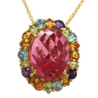 Michael Valitutti Gold over Silver Quartz, Citrine, Amethyst, Blue Topaz and Peridot Necklace