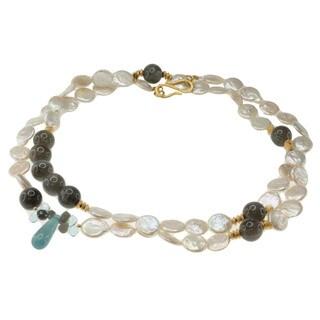 Michael Valitutti Gold over Silver Coin Pearl, Labradorite, Aquamarine and Blue Topaz Necklace (14-15 mm)