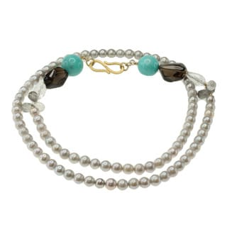 Michael Valitutti Gold over Silver Grey Pearl, Amazonite, Smokey Quartz, Tourmaliated Quartz and Rock Crystal Necklace