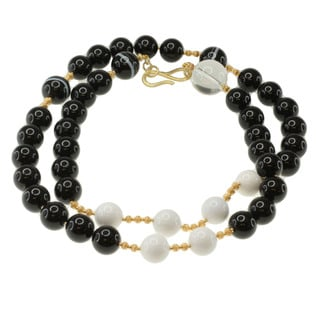 Michael Valitutti Gold over Silver Agate, Onyx and Rock Crystal Bead Necklace