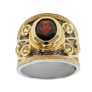 Michael Valitutti Two-tone Silver Garnet, Yellow Sapphire and Tsavorite Ring