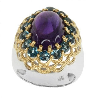Michael Valitutti Two-tone Silver Amethyst and London Blue Topaz Ring