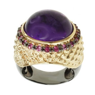 Michael Valitutti Two-tone Silver Amethyst and Pink Sapphire Ring