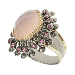 Michael Valitutti Two-tone Silver Pink Agate and Pink Sapphire Ring