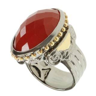 Michael Valitutti Two-tone Silver Orange Chalcedony Ring