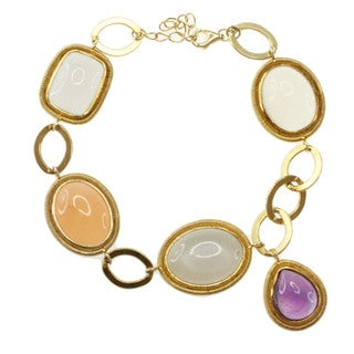 Michael Valitutti/ Kristen Gold over Silver Multi-moonstone, Chalcedony and Amethyst Bracelet