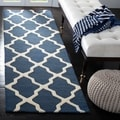 Safavieh Handmade Moroccan Cambridge Navy/ Ivory Wool Rug (2'6 x 20')