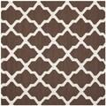 Safavieh Handmade Moroccan Cambridge Dark Brown/ Ivory Wool Rug (4' Square)