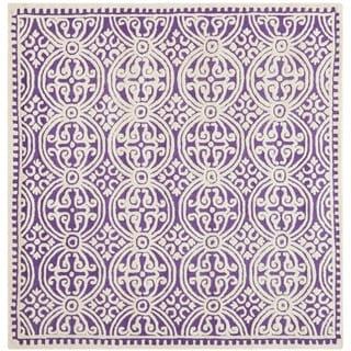 Safavieh Handmade Moroccan Cambridge Purple/ Ivory Wool Rug (4' Square)
