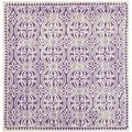 Safavieh Handmade Moroccan Cambridge Purple/ Ivory Wool Rug (4' Square)