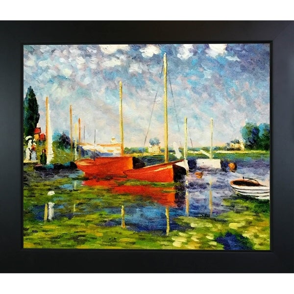 Claude Monet 'Red Boats at Argenteuil' Hand Painted Framed Canvas Art 11743626