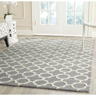 Safavieh Handmade Moroccan Cambridge Silver/ Ivory Wool/ Latex Rug (10' x 14')
