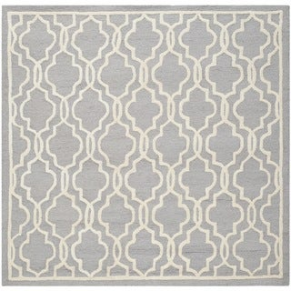 Safavieh Handmade Moroccan Cambridge Silver/ Ivory Wool Rug (10' Square)