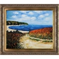Claude Monet 'Meadow Road to Pourville, 1882' Hand Painted 30.5-inch Framed Canvas Art