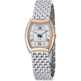 Bedat Women's 305.401.109 'No3' Silver Diamond Dial Rose Gold Steel Quartz Watch