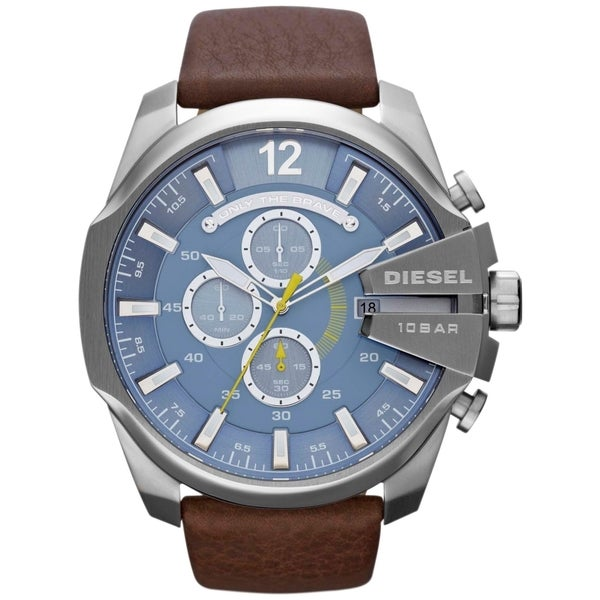 Diesel Men's DZ4281 Mega Chief Brown Leather Analog Watch