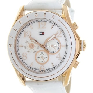 Tommy Hilfiger Women's White Leather and White Dial Quartz Watch