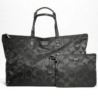 Coach 'Getaway' Large Black Signature Weekender Set