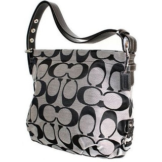 Coach Women's Silver Signature Jacquard Duffle Bag
