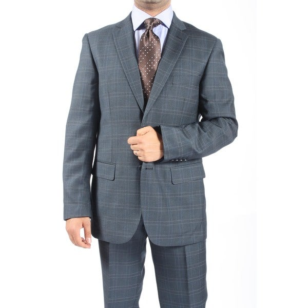 Zonettie by Ferrecci Men's Slim Fit Blue Grey Plaid Check 2-button Suit