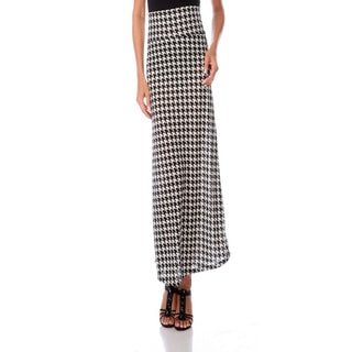 Stanzino Women's Houndstooth Print High-waist Maxi Skirt