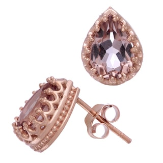 Gioelli Jenne Rose Gold over Silver Pear-cut Simulated Morganite Earrings