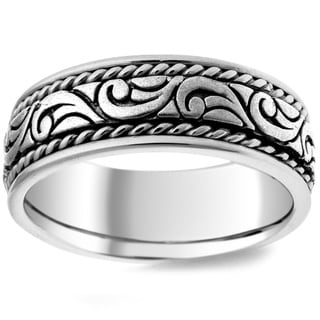 14k White Gold Men's Handmade Comfort-fit Wedding Band
