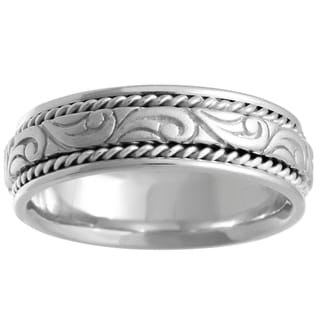 14k White Gold Handmade Comfort-fit Carved Wedding Band