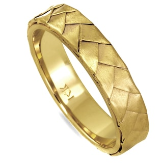18k Yellow Gold Men's Handmade Comfort-fit Wedding Band