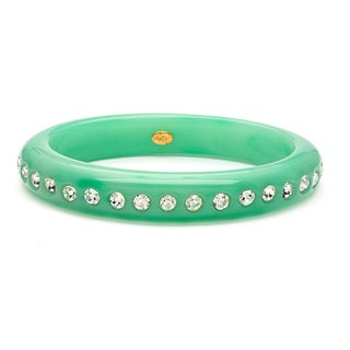 Kenneth Jay Lane Jade and Crystal Bangle Fashion Bracelet