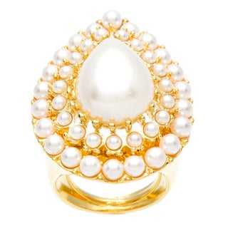 Kenneth Jay Lane Gold Overlay Faux Pearl Center Teardrop Ring