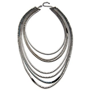 Kenneth Jay Lane Gunmetal Box Chain 7-row Necklace