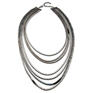 Kenneth Jay Lane Gunmetal Box Chain 7-row Necklace