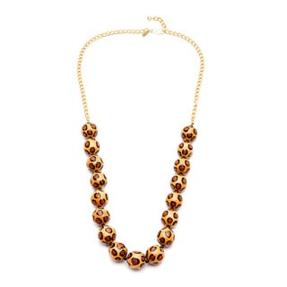 Kenneth Jay Lane Gold Overlay Leopard Bead Necklace