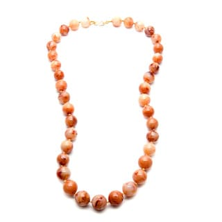 Kenneth Jay Lane Gold Overlay Long Graduated Brown/ White Swirl Bead Necklace