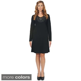 Women's Embellished Neck Casual Dress