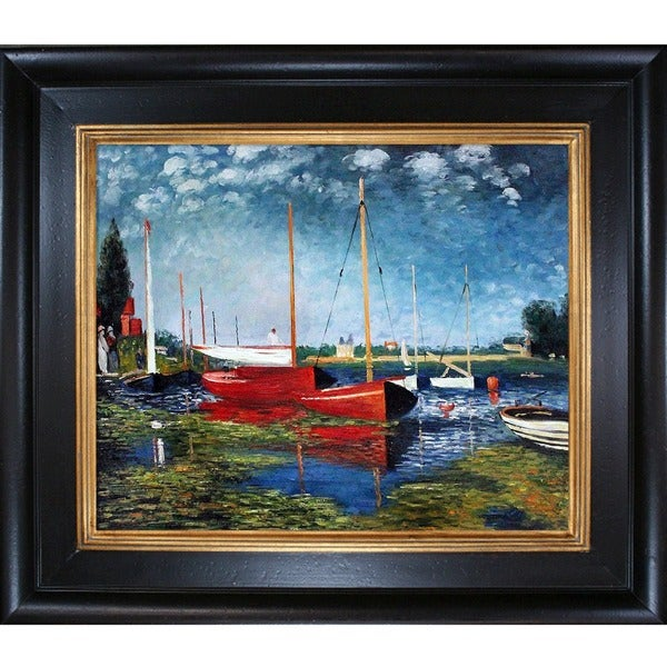 Claude Monet 'Red Boats at Argenteuil' Hand Painted Framed Canvas Art 11745114