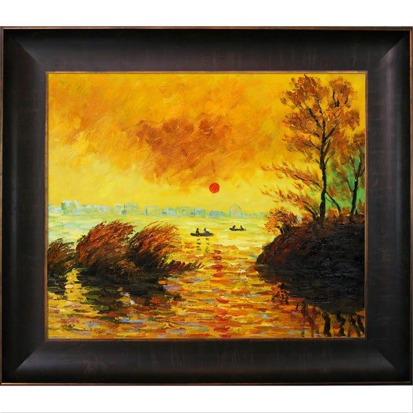 Claude Monet 'Le Coucher Du Soleil La Seine' Hand Painted Framed Canvas Art