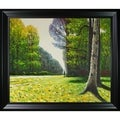 Claude Monet 'The Road to Bas-Breau, Fontainebleau' Hand-painted Framed Canvas Art