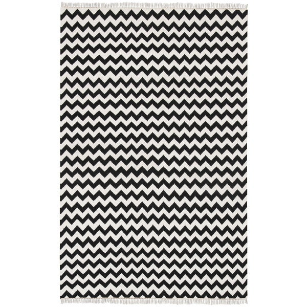Hand Woven Black Electro Wool Flat Weave (4 x 6)