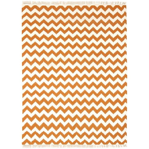 Hand Woven Orange Electro Wool Flat Weave (5 x 8)