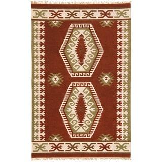 Hand Woven Double Diamond Wool Flat Weave (8 x 10)
