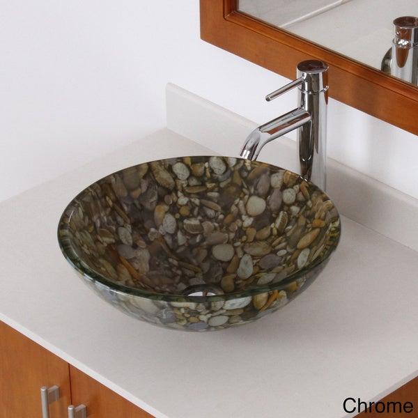 Elite Sea Rocks Double Layer Glass Bowl Bathroom Vessel Sink/ Faucet