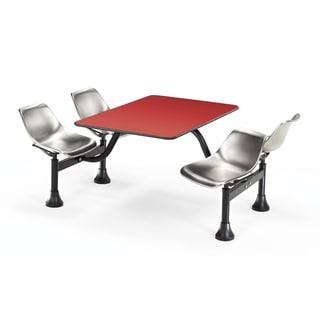 OFM Red and Stainless Steel 4-chair Cluster Table